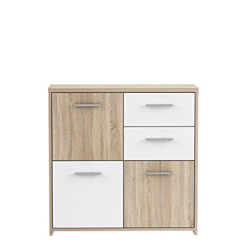 FORTE Kommode, Holz, Sonoma Eiche Dekor Kombiniert Mit Weiß, 77.2 x...