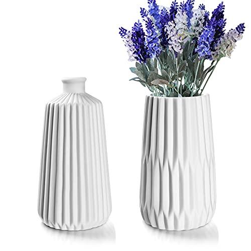 Deko Vasen 2er Set, Blumenvase Tischvase mit Nordischem Stil, Weiße...