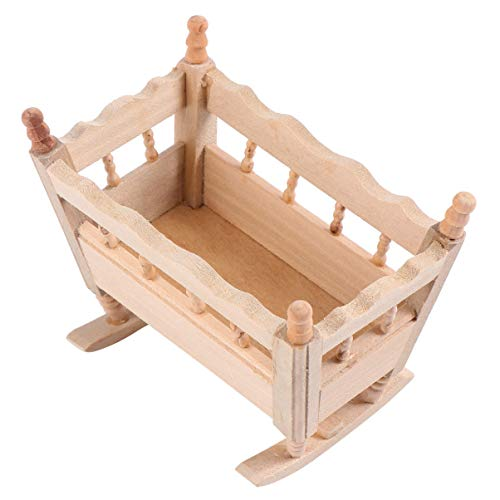 BESPORTBLE 1:12 Miniatur Baby Wiege Puppe Kinderbett Bett Puppenhaus...