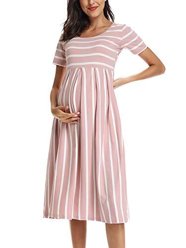 Love2Mi Damen Kurzarm Umstandskleid Schwangerschafts Kleid Streifen...