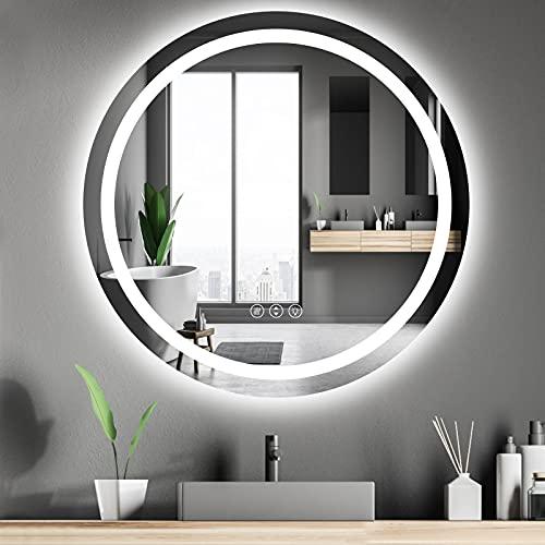 Rund Spiegel Bad mit Beleuchtung 70cm,LED Badspiegel mit...