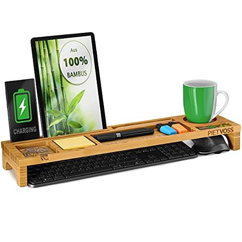 PIETVOSS Schreibtisch Tastatur Organizer aus Bambus Holz, Aufsatz...