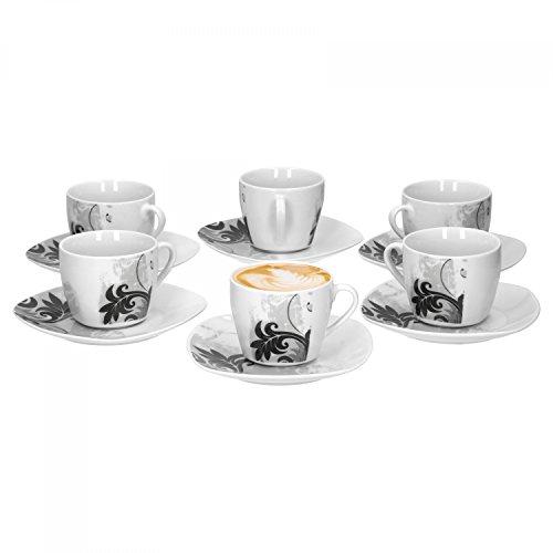 Van Well 12-tlg. Kaffeetassen-Set Black Flower: 6 Obertassen, 180 ml +...