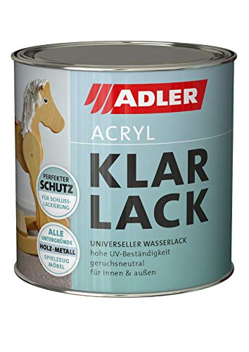 ADLER Acryl Klarlack Matt 750 ml - Acryllack mit Grundierwirkung,...