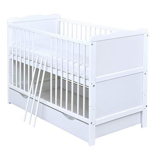 Baby Delux Babybett Kinderbett Juniorbett Jack 140x70 Weiß umbaubar...