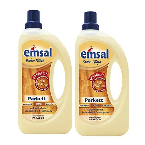 2x emsal Boden-Pflege Parkett 1 Liter mit Bioprotect - Aufquellschutz,...