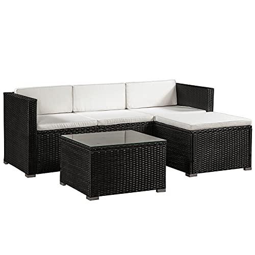 ArtLife Polyrattan Lounge Punta Cana M schwarz – Gartenlounge Set...