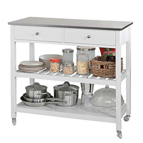 SoBuy® FKW47-W Küchenwagen mit Edelstahlplatte Flurschrank Sideboard...