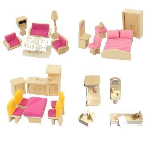 Freda Holz Puppenhausmöbel - 28 teiliges Zubehör Set für Puppenhaus...