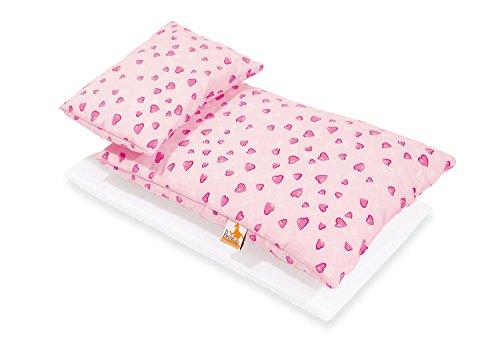 Pinolino Puppenbettzeug Herzchen, 3-tlg., mit Matratze, Bettdecke und...