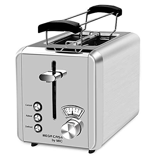 Toaster Edelstahl 2 Scheiben Toaster mit Brötchenaufsatz Testsieger 6...