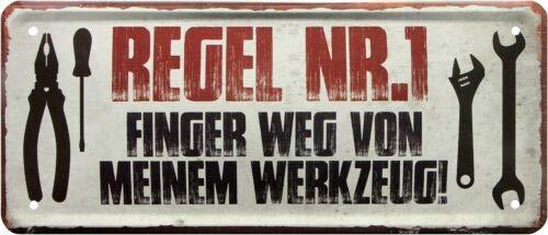 Finger Weg von Meinem Werkzeug Werkstatt Garage 28x12 Deko Blechschild...