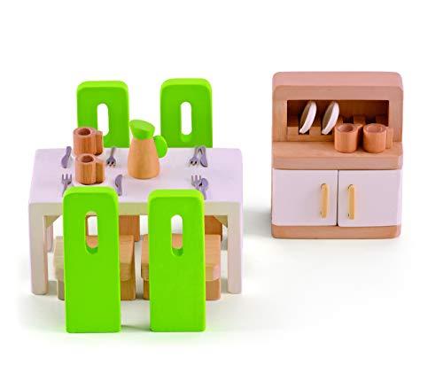 Hape E3454 Esszimmer, grüne Stühle/weißer Tisch/schrank mit weißen...