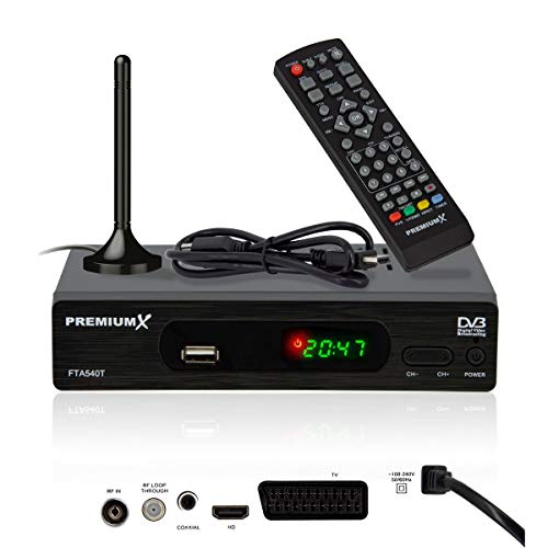 PremiumX FTA 540T Full HD Digitaler DVB-T2 terrestrischer TV Receiver...