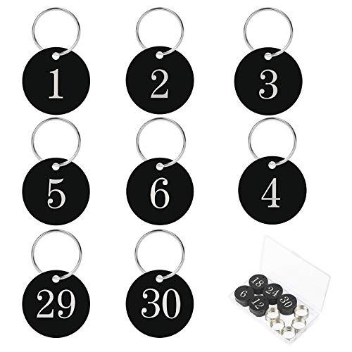 AirSMall 30stk Nummeriert Schlüsselanhänger 1-30 Nummer Schlüssel...