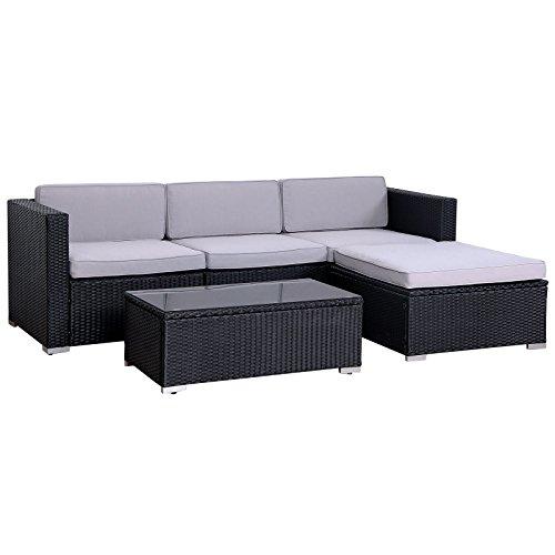 SVITA California Poly-Rattan Lounge Gartenset Sofa-Set Garnitur...