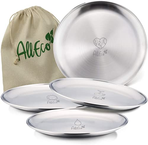 AllEco® Edelstahl Camping Teller Set 4 Stk. 20cm Ø Picknick &...