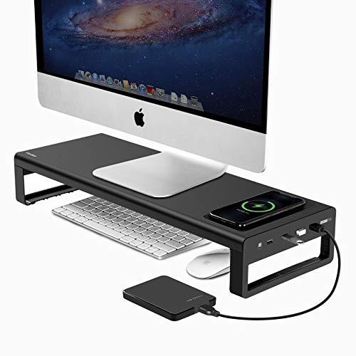 Vaydeer USB 3.0 Monitorständer mit kabelloser Aufladung Aluminium...