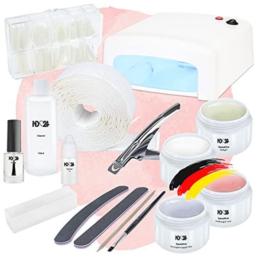 Nagelstudio Starter Set Basic für Gelnägel mit UV Lampe + Gel Made...