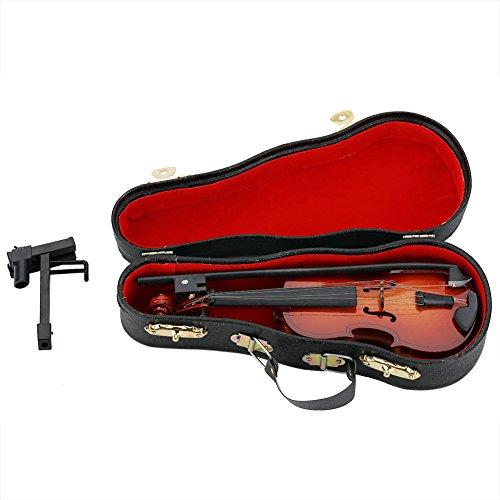 Zerodis Mini Violine Holz Musikinstrument Modell Puppenhaus Dekor...