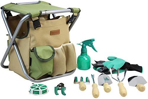 INNO STAGE 10-Teiliges Gartenwerkzeug Set mit Tasche und Sitz, Garten...