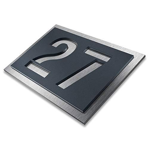 Metzler Hausnummer aus Edelstahl - wählbar in Anthrazit-Grau RAL...