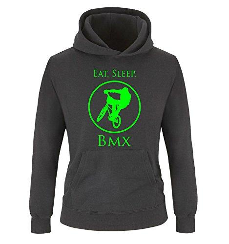 Comedy Shirts - EAT. Sleep. BMX - Kinder Hoodie - Schwarz/Neongrün...