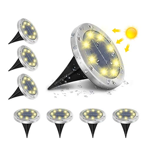 AMBOTHER A-SL-01 Solar Bodenleuchten, 8 LEDS Solarleuchten Solarlampen...
