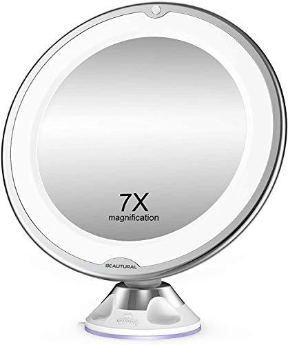 BEAUTURAL Kosmetikspiegel 7 Fach Vergrößerung LED Beleuchtet...