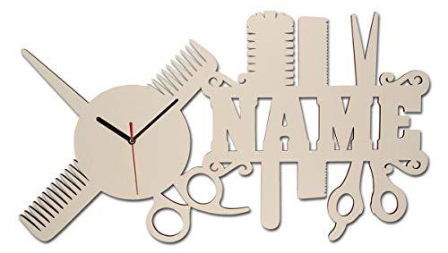 Spezial Holz Wand-Uhr Friseur-Geschenk Schere lustige witzige...