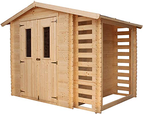TIMBELA Holzhaus Gartenhaus mit Brennholzschuppen M386C -...