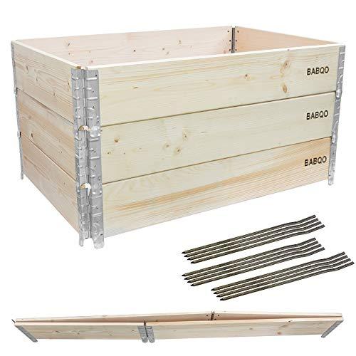 BABQO 3 Stück Paletten Aufsatzrahmen 120x80cm (3 Etagen) Hochbeet...