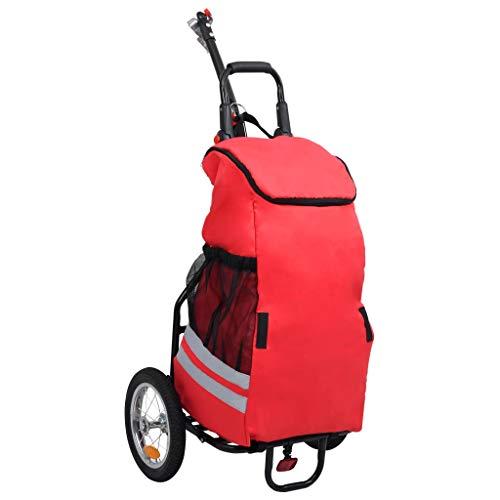 vidaXL Cargo Fahrradanhänger mit Einkaufstasche Klappbar Trolley...