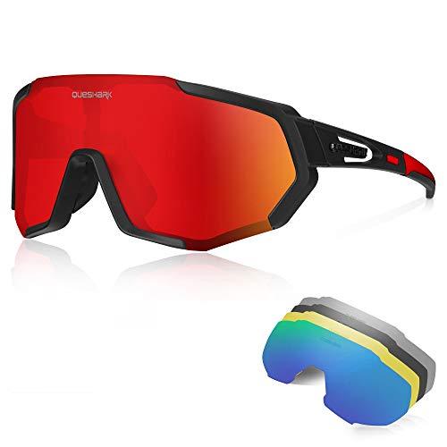 Queshark Sportbrillen Fahrrad Brillen Damen Herren Polarisierte UV400...