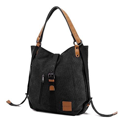JOSEKO Canvas Tasche Handtasche, Damen Schultertasche Rucksack...