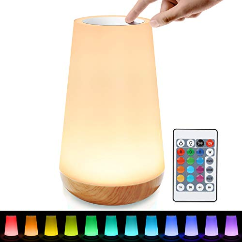 tronisky LED Nachttischlampe, Touch Dimmbar Atmosphäre Tischlampe mit...