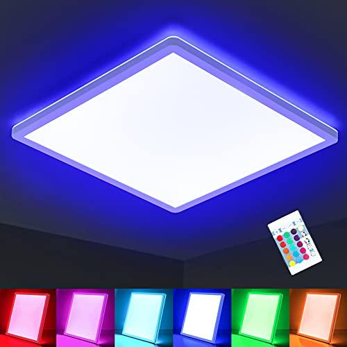Oraymin LED Deckenleuchte Farbwechsel, 15W 1800LM RGB Deckenlampe...