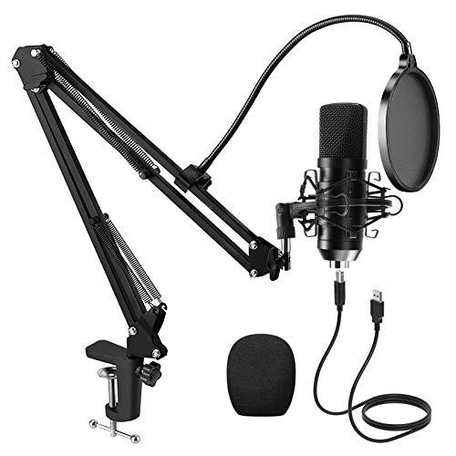 PREUP USB Mikrofon PC mit Mikrofonständer, Stoßdämpferhalter,...