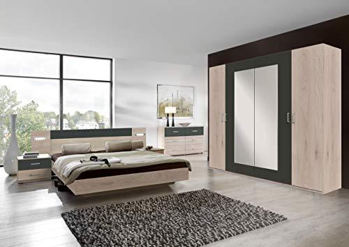 lifestyle4living Schlafzimmer Komplett Set in Eiche-Dekor und grau,...