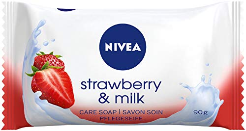 NIVEA Strawberry & Milk Pflegeseife (1 x 90 g), cremige Seife mit...