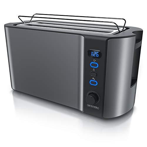 Arendo - Edelstahl Toaster Langschlitz 4 Scheiben - Defrost Funktion -...