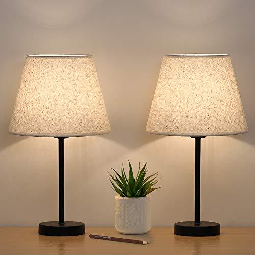 Kleine Tischlampe Nachttischlampen 2er-Set, Nachttischlampen Leinen...