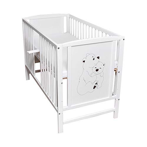 Babybett Gitterbett Kinderbett Sprossen 120x60 Weiß Bär Bärchen...