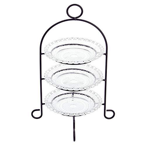 Etagere 3-stöckig aus Metall, mit Glastellern, Servierplatte,...