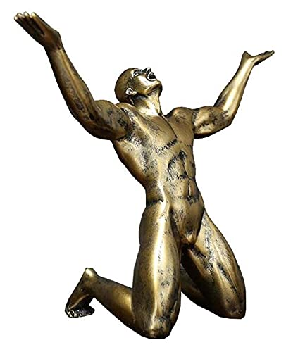 Desktop-Skulptur Harz Goldene Figur Schreiende Statue Skulptur...
