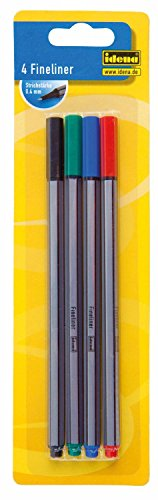 Idena 516186 - Fineliner 4 Stück, Strichstärke 0.4 mm