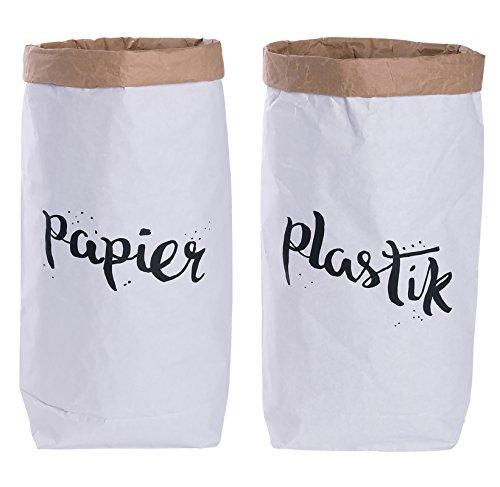 Lifestyle Lover 2er Pack Papiersack rund Paper Bag Kraftpapier Beutel...