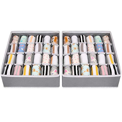 Joyoldelf 2 Stück Aufbewahrungsboxen für Socken und Unterwäsche, 24...