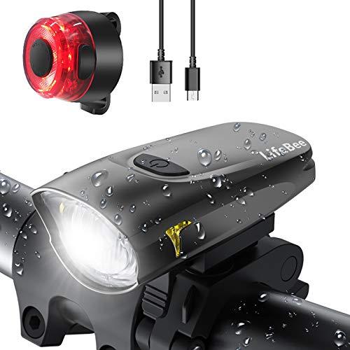 LIFEBEE LED Fahrradlicht, USB Fahrradbeleuchtung Fahrradlicht Vorne...