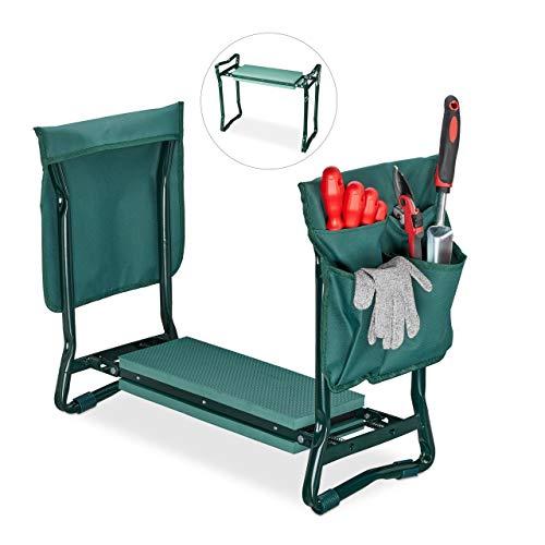 Relaxdays, grün Kniebank, weiches Kniekissen, 2 Taschen, klappbar,...